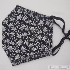 Black and White Flowers! - Trilayer Fabric Face Covering