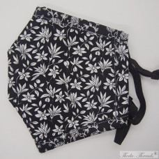 [SOLD] Black and White Flowers! - Pink - Trilayer Fabric Face Covering