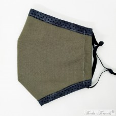 Dots with Khaki! - Size for Beards/XL - Trilayer Fabric Face Mask