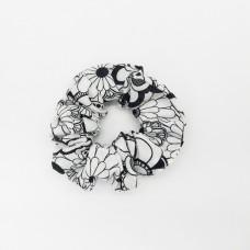 Black & White Flowers S Scrunchie
